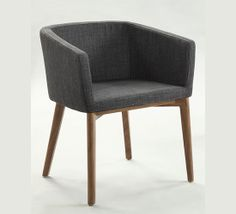 Contemporary upholstered armchair with solid Ash legs and commercial quality fabric in green, taupe or grey. Stock limited - call now 1300 309 889.