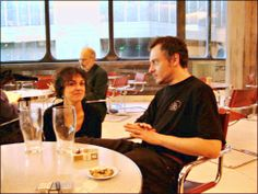 Joanna and Jacques relax after a Beskydy concert at the Purcell Room, Queen Elizabeth's Hall, London Southbank