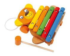 """Xylophon """"Bear"""" Very colourful and cheerful-faced bear brings children into the world of sound! The sounds will be awakened with the help of the hammer hitting the bars of the xylophone - a great article in beech wood, hand painted in bright colours. recommended minimum age: From 3 years, Size approx: 16 x 18 x 18 cm"""