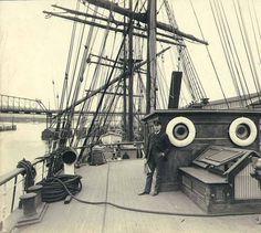 Deck of the three-masted British sailing vessel GLENELVAN at anchor, Puget Sound port, Washington, ca. 1904. :: Wilhelm Hester Photographs
