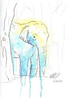Original Watercolor Elephant in Blue  digital by IllustrationsbyTi, $3.00