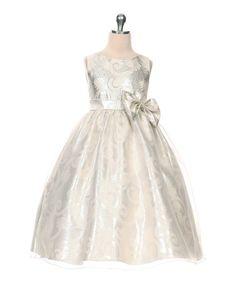 Look what I found on #zulily! Silver Jacquard Organza Dress - Toddler & Girls by Kid's Dream #zulilyfinds