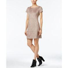 Jessica Simpson Faux-Suede Shift Dress ($98) ❤ liked on Polyvore featuring dresses, beige, mini dress, beige shift dress, beige short dress, faux suede dress and white mini dress