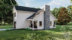Modern Farmhouse Cabin Plan | Littleton Small Cottage House Plans, Small House Floor Plans, Cottage Homes, Wood Garage Doors, Barns Sheds, Cabin Plans, Tiny House Design, Great Rooms, Modern Farmhouse