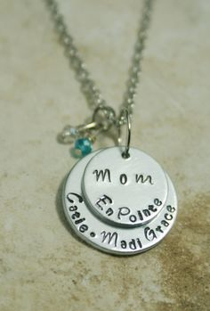 Hey, I found this really awesome Etsy listing at https://www.etsy.com/listing/230379796/personalized-hand-stamped-layered-mom