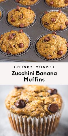 Healthy zucchini banana muffins packed with shredded zucchini, banana, heart-healthy walnuts, coconut and dark chocolate chips. These delicious muffins pack in both fruits and veggies, making them the Banana Zucchini Muffins, Banana Muffins With Yogurt, Dairy Free Zucchini Muffins, Best Banana Muffin Recipe, Sugar Free Muffins, Banana Bread, Muffins Sains, Shredded Zucchini, Gourmet