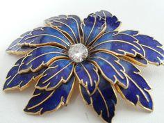 Vintage brooch, cobalt blue and gold edge flower brooch, sparkling crystal brooch, 1940s brooch. Etsy.