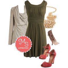 In this outfit: I Love Your Dress in Olive, Airport Greeting Cardigan in Oatmeal, Filigree to the Brim Necklace, Sash Samba Belt in Taupe, Step to the Rhythm Heel in Red #casual #dresses #shoes #spring #summer #chic #ModCloth #ModStylist #ootd #fashion #outfits #style