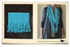 Lorrie Everitt Studio: Fringed Tee shirt scarf tutorial