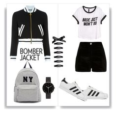 """""""Bomber Jacket"""" by starspy ❤ liked on Polyvore featuring Moschino, adidas, River Island, H&M, Joshua's, I Love Ugly, women's clothing, women, female and woman"""