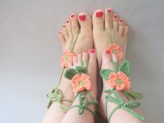 Mother Daughter Daisy Lace Sandals,Gypsy,Beach,belly dancer,Pool,Yoga,Hand Crochet,Victorian,Sexy,Lolita,Hippie,Old fashioned,beach birthday. $20.00, via Etsy.