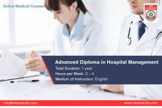 Indian Medical Association offers Advanced diploma in hospital management acquaints students with some of the core areas relating to healthcare – IMA eVarsity for more info : http://www.imaevarsity.com/advanced-diploma-in-hospital-management/