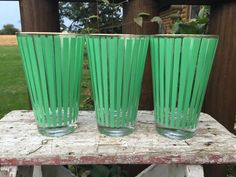 3 mid century green striped heavy tall by polkadotsandcurls