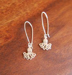 Sterling silver octopus charm earrings $24 on Etsy