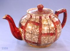 Arthur Wood Burgundy and Gold Vintage Teapot