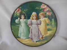 Antique Victorian Chimney Flue Cover Beautiful Young Girls Children Walking Carrying Flowers Floral Green Purple Yellow Dresses