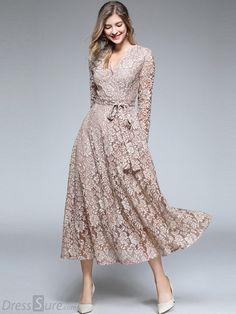 Embroidery Lace V-Neck Long Sleeve Maxi Dress – Lace Dresses Elegant, Casual Dresses, Fashion Dresses, Formal Dresses, Dresses Dresses, Long Maxi Dresses, Dress Outfits, Tea Length Dresses, Bride Dresses