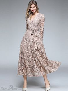 d7e7340c7a82 Embroidery Lace V-Neck Long Sleeve Maxi Dress - DressSure.com Abiti  Autunnali
