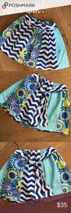 HANDMADE girl skirt If your little princess loves pattern, this is the skirt for her- my model is 4, and this is too big- this could be worn for some time as it has an elastic waist and hits here at the knees- my best guess would be a 5-8, maybe even longer. Excellent quality! handmade Bottoms Skirts