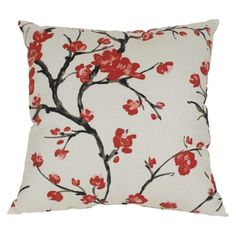 "Flowering Branch Toss Pillow - Beige/red (16.5x16.5"")"