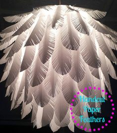 Feather - Elegant paper feather light shade - wedding lights, bedroom lighting, handmade lamp  $88.17