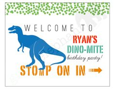 Dinosaur Birthday Party Printable Welcome / Door Sign