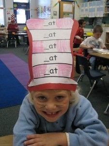word family hat, whiskers and red nose. Kindergarten Language Arts, Kindergarten Teachers, Student Teaching, Abc Phonics, Phonics Reading, Dr Seuss Week, Dr Suess, I Love School, School Stuff