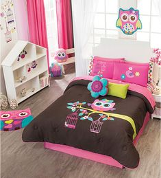 Wonderful Girls Twin And Full Size Girl Owl Comforter Set