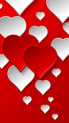 ♥♥ Red & White Love Hearts Wallpaper ♥♥