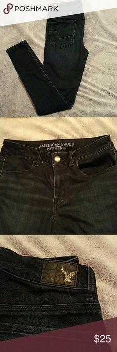 American Eagle hi rise jeggings size 6 long 6 long 32 in inseam, dark blue skinny jeans jeggings, hi rise waist American Eagle Outfitters Jeans Skinny