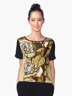 """Roses, graphic art, floral motif"" Chiffon Tops by clipsocallipso 