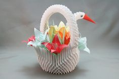 3D origami - Swan Basket