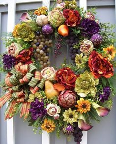Teal and Plum Silk Flower Wreath, Grapevine Wreath, Front Door Wreath, Fall Wreath, Etsy - Welcome your guests into your home with this Wreath Crafts, Diy Wreath, Wreath Ideas, Holiday Wreaths, Christmas Decorations, Holiday Decor, Corona Floral, Summer Wreath, Floral Arrangements