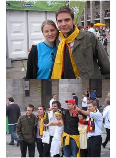 Daniel Bruhl with friends at the World Cup in Berlin, Germany in 2006