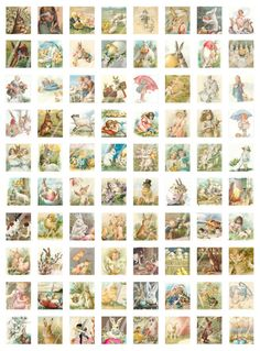 instant download of 80 antique and vintage scrabble sized Easter and spring images for paper crafts -- no. 336