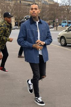 Chris Brown wearing Ralph Lauren Boxer Brief, Givenchy SS16 Spread Collar Jacket, Vans Old Skool Lite