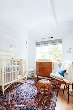 This warm ruggy nursery hits all the right notes! From the white walls & crib, to the wood accents, to the amazing area rug, this modern nursery design is spot on! Nursery Design, Nursery Decor, Nursery Ideas, Nursery Themes, Girl Nursery, Nautical Nursery, Bedroom Decor, Project Nursery, Animal Nursery