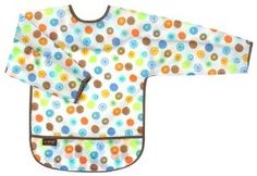 Kushies Waterproof Bib with Sleeves, White Circle, Toddler by Kushies. $11.49. Lightweight waterproof fabric. Can be used as an art smock. It wipes down easily so you can reuse it at the next meal, also machine washable. Catch all pocket. With sleeves for full clothing coverage. 100% nylon coated polyurethane. From the Manufacturer                Protect your little one's clothes from from big messes at mealtime with Kushies lightweight taffeta waterproof bib with sl...