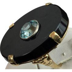 Black Onyx and Blue Zircon 14kARAT Ring