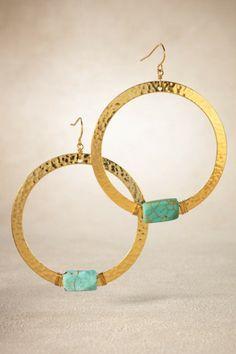 Hammered Gold Hoop - Gold Hoop Earrings, Hammered Gold, Turquoise Gemstone | Soft Surroundings