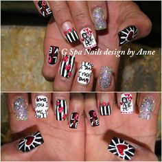 nail designs. Love the nail with stripes and flowers