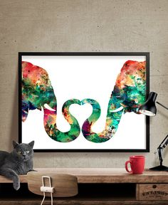 Abstract Painting Elephant Love Watercolor Print by FineArtCenter