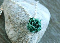 Malachite pendant necklace Rose jewelry Floral pendant Womens