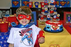 Superman birthday Party. Classic superhero and comic books.