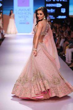 Lehenga - Vintage rose pink lehenga with embroidered Blouse side - Amy Jackson - Anushree Reddy - Lakme Fashion Week Winter-Festive 2015 Lehenga Designs, Lengha Design, Saris, Indian Dresses, Indian Outfits, Indian Clothes, Lakme Fashion Week 2015, Indie Mode, Indian Couture