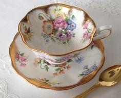 Beautiful Vintage Royal Albert Gold Tea Cup and Saucer