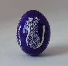 Fun, Whimsical Purple Cat Pysanky, Ukrainian Easter Egg