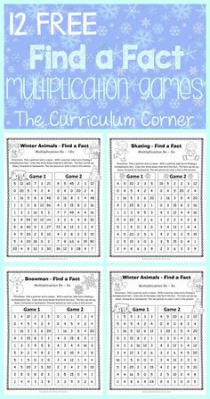 FREE Winter Themed Find a Fact Multiplication Games from The Curriculum Corner Multiplication Facts Practice, Math Fact Practice, Math Facts, Multiplication Tables, Multiplication Strategies, Math Intervention, Third Grade Math, Grade 3, Math Practices