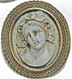 14k Gold Vintage Antique ultra high Relief CARVED Lava Cameo Brooch Jewelry rare