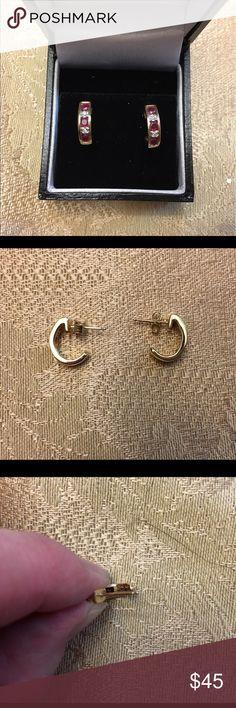 10k gold ruby and diamond earrings- never worn! Lovely set of 10k gold ruby and diamond earrings. Jewelry Earrings